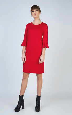 Sleeve Detail Red Dress in Stretch Punto di Roma Fabric by Conquista Fashion