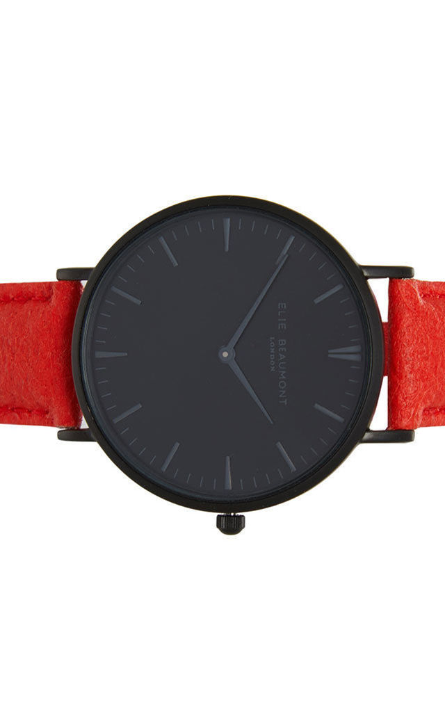 Vegan Oxford Large Black Dial/Red Watch by Elie Beaumont