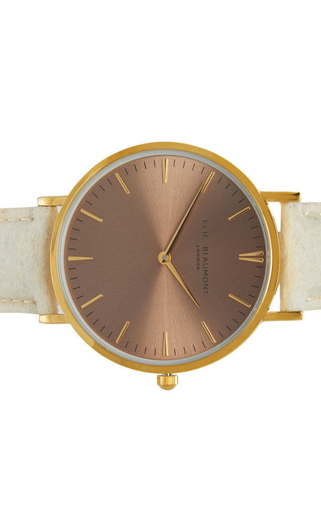 Vegan Oxford Large Coffee Dial/Cream Watch by Elie Beaumont