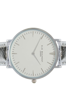 Vegan Oxford Large Silver Watch by Elie Beaumont