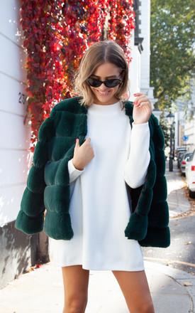 Luxe Faux Fur Panelled Jacket In Dark Green by Styled In London Product photo