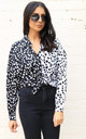 Two Tone Mixed Dalmatian Print Long Sleeve Button Down Shirt Blouse in Black & White by One Nation Clothing