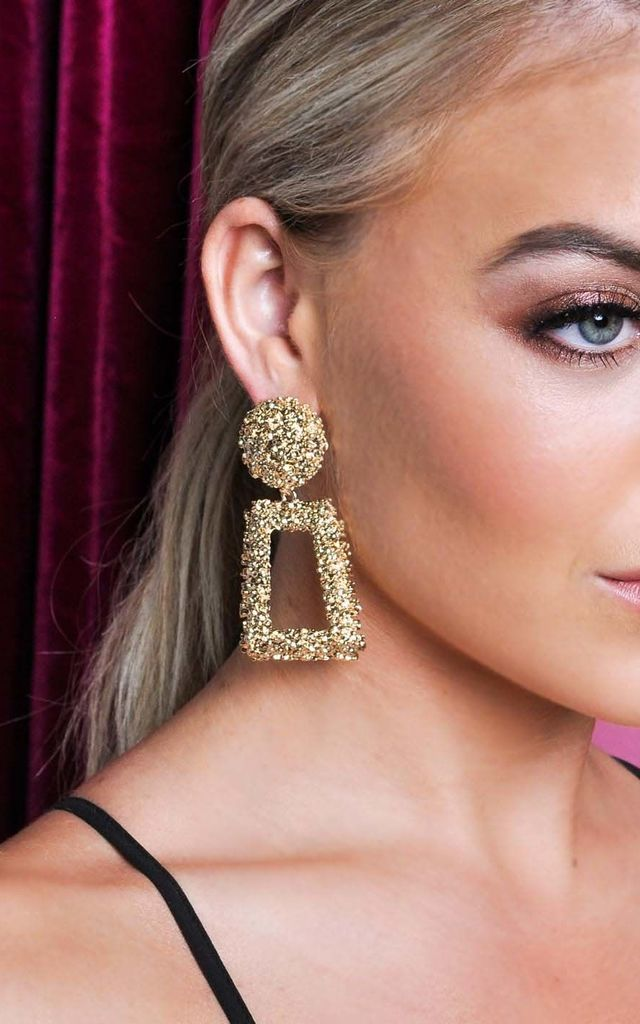 Chunky Geometric Textured Statement Earrings Gold by LILY LULU FASHION