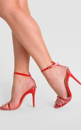 Isa Perspex Barely There Heel in Red Patent by Poised London