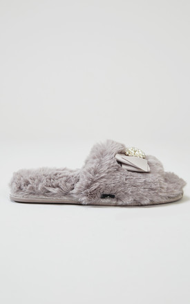Anya Faux Fur Slipper Sliders In Mink With Bow and Pearls by Pretty You London
