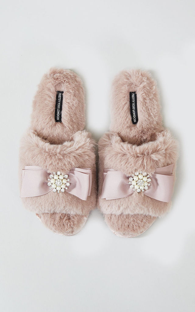 3fe74893d9a6 Womens Anya Faux Fur Slipper Sliders In Pink With Bow and Pearls by Pretty  You London