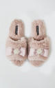 Anya Faux Fur Slipper Sliders In Pink With Bow and Pearls by Pretty You London