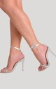 Isa Perspex Barely There Heel in Silver by Poised London