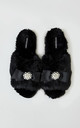 Anya Faux Fur Slipper Sliders in Black With Bow and Pearls by Pretty You London