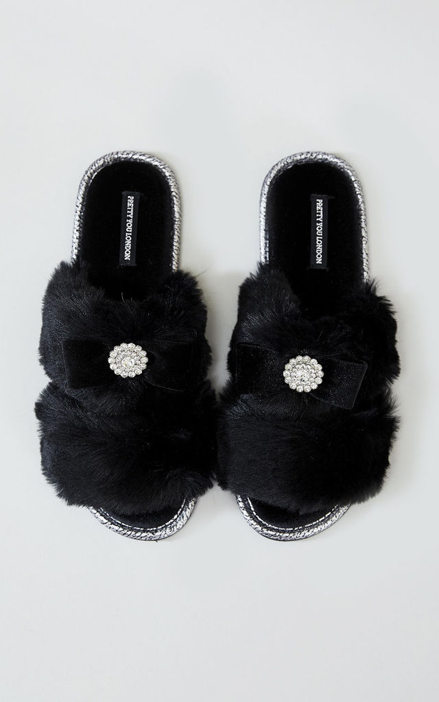 Womens Assisi Faux Fur Slipper Sliders in Black by Pretty You London