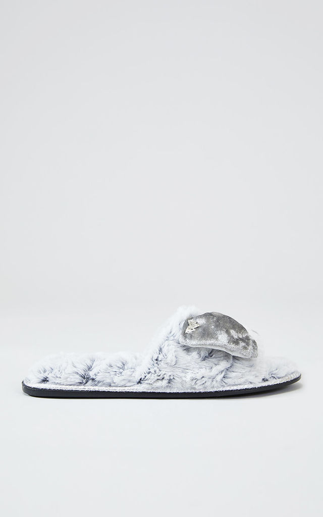 Womens Amber Faux Fur Slipper Sliders in Silver With Velour Bow by Pretty You London