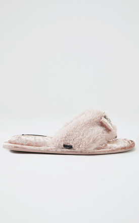 Amelie Toe Post Faux Fur and Velvet Slipper in Pink With Bow by Pretty You London