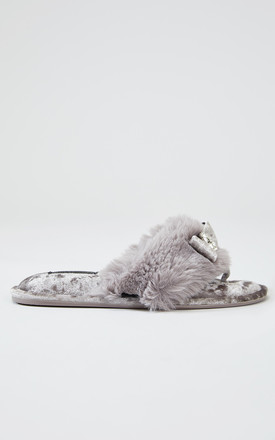 Amelie Toe Post Faux Fur and Velvet Slipper in Mink With Bow by Pretty You London