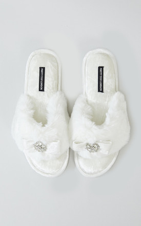 Amelie Toe Post Faux Fur and Velvet Slipper in Cream With Bow by Pretty You London