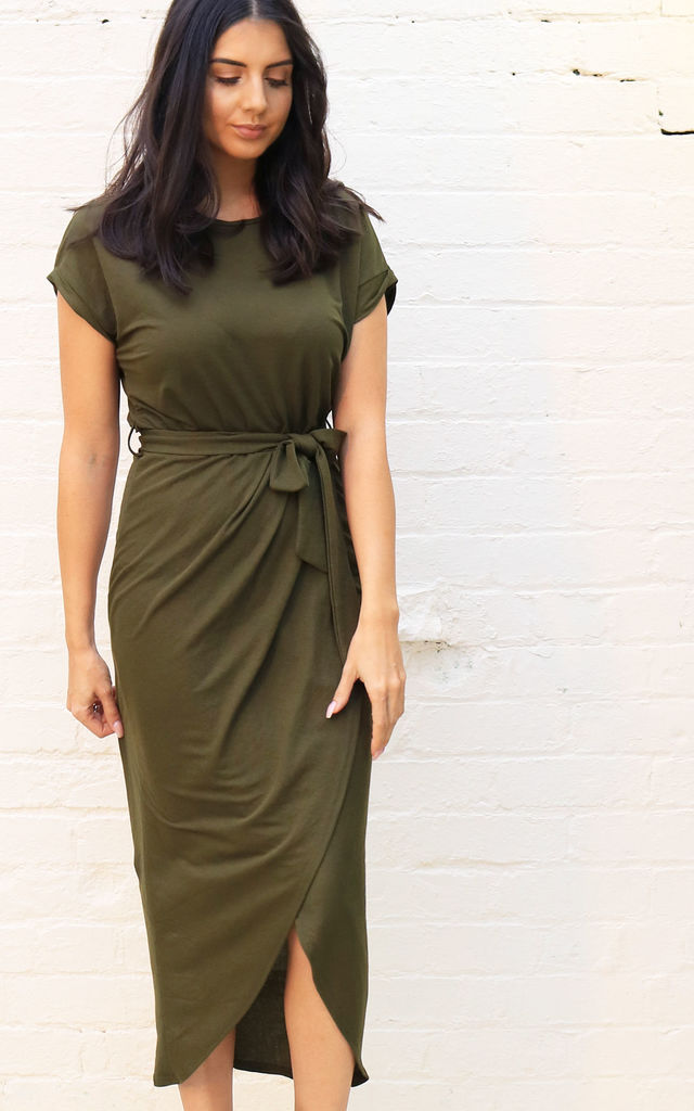3fddfc0306c17 Jersey Midi T-Shirt Dress with Curve Hem Wrap Skirt in Khaki Green by One
