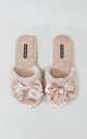 Womens Alexa Faux Fur and Velvet Slipper Sliders in Pink With Bow by Pretty You London