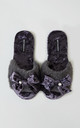 Womens Alexa Faux Fur and Velvet Slipper Sliders in Purple With Bow by Pretty You London