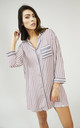 Striped Long Sleeve Nightshirt in Pink/Grey by Pretty You London