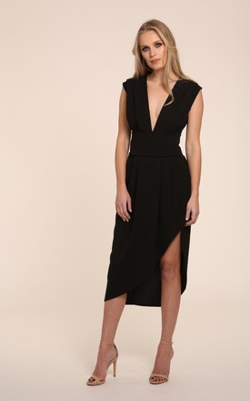 Haven Black Plunge Midi Dress with Spilt by Honor Gold