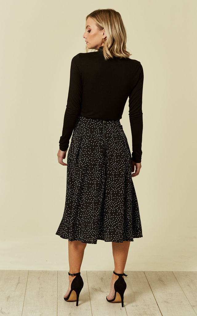 Black Polka Dot Box Pleat Midi Skater Skirt by MISSI LONDON