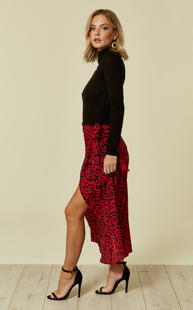 Asymmetric Red Leopard Skirt by Oeuvre