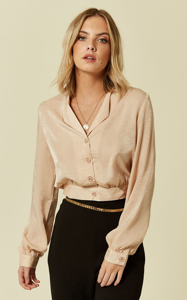 Champagne Satin Button Front Cropped Shirt by Pretty Darling