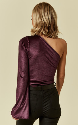 Metallic Purple Asymmetric Single Sleeve Bodysuit by Prodigal Fox