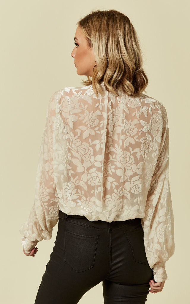White Lace Long Sleeve Bodysuit by Prodigal Fox