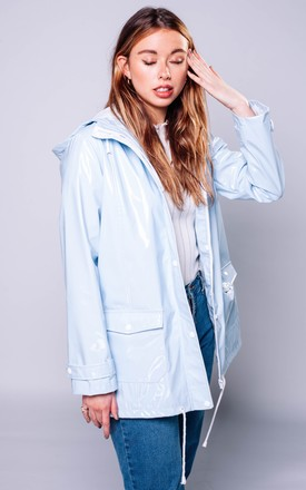 Pastel Blue Raincoat With Zips and Hood by Pair Of Peaches