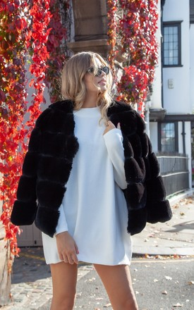 Luxe Faux Fur Panelled Jacket In Black by Styled In London Product photo