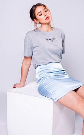 Baby Blue Mini Satin Style Skirt by Pair Of Peaches