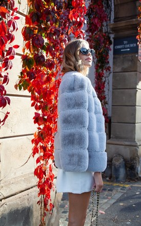 Luxe Faux Fur Panelled Jacket In Grey by Styled In London Product photo