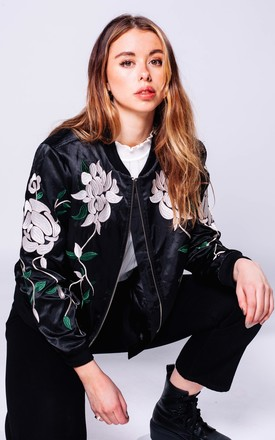 Black Floral Embroidered Bomber Jacket by Pair Of Peaches