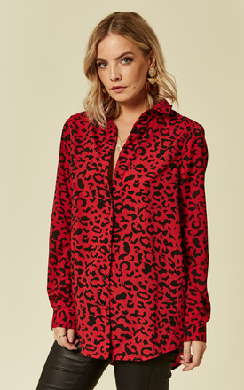 Red Leopard Print Shirt by Oeuvre Product photo