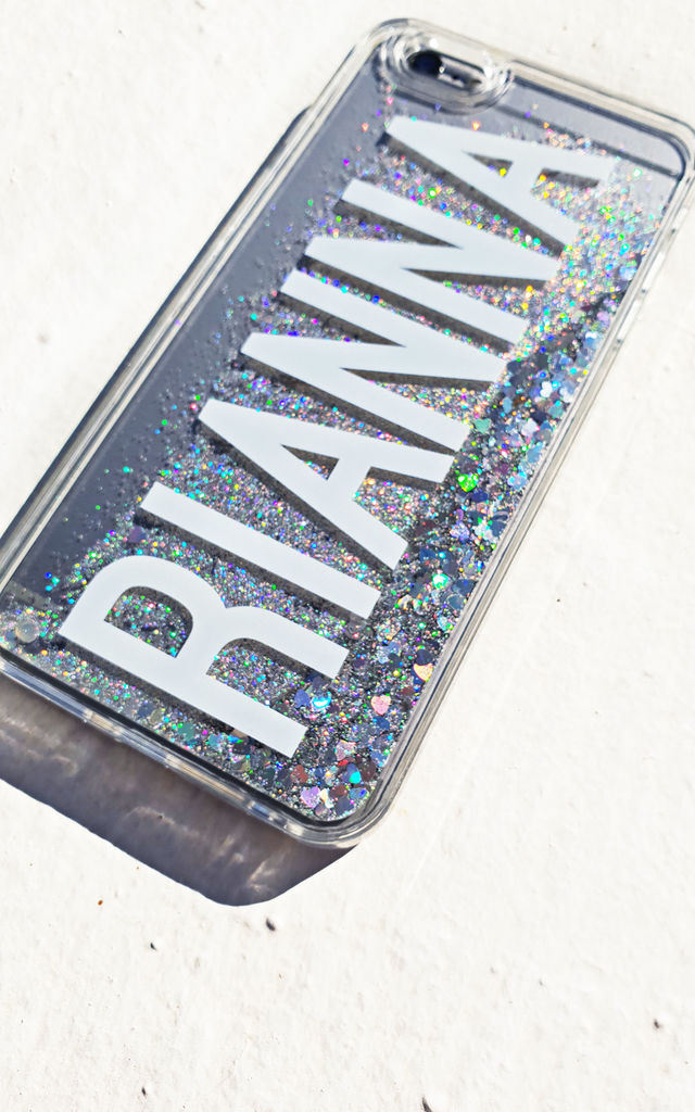 Silver glitter monogram clear case by Rianna Phillips