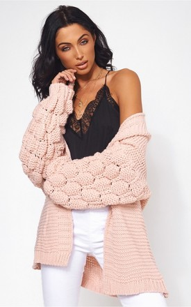 Alessa Pom Bobble Sleeve Nude Cardigan by The Fashion Bible Product photo