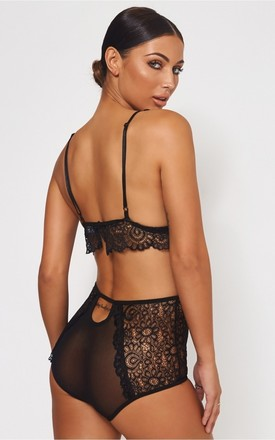 Black High Waisted Lace Lingerie Set by The Fashion Bible