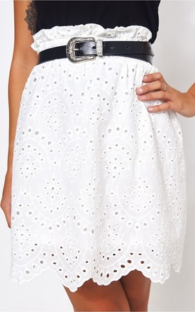 Pia Ltd Edition White Broderie Anglaise Skirt by The Fashion Bible