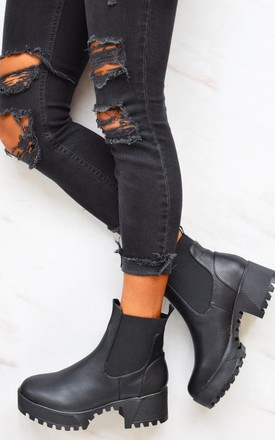 Chunky Cleated Sole Ankle Boots - Black PU by AJ | VOYAGE