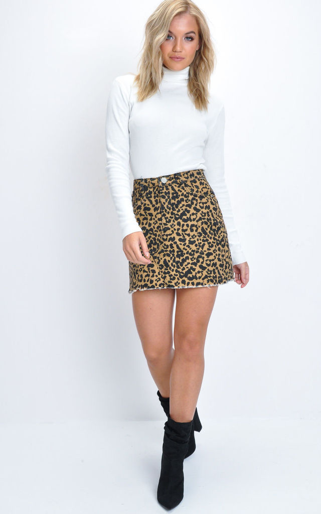 Leopard Animal Print Denim Mini Skirt Multi by LILY LULU FASHION
