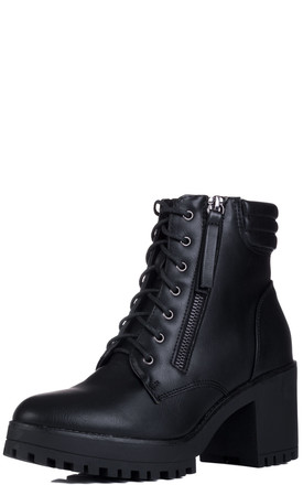 HIGHLANDIA Lace Up Block Heel Ankle Boots Shoes - Black Leather Style by SpyLoveBuy