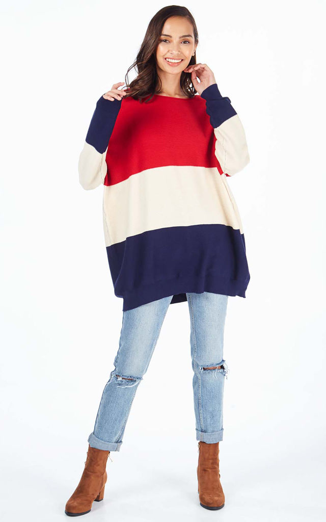 BERYL – Red Oversize Colour Block Jumper by Blue Vanilla