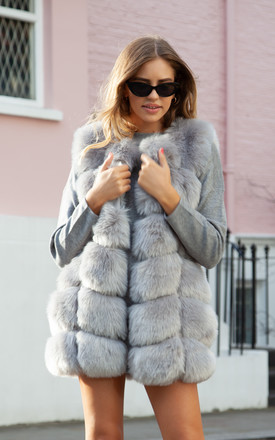 Soho Grey Faux Fur Panelled Gilet by Styled In London Product photo
