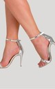 Abigail Two Strap Barely There Heels in Silver Patent by Poised London