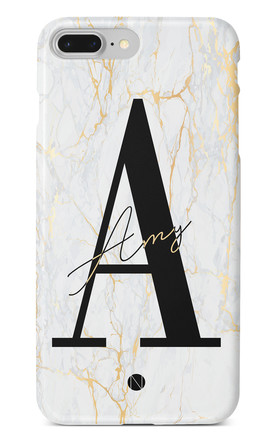 The Personalised Marble Initials Phone Case - White Gold Edition by NIEVUS