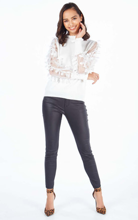 DAISY Cream High Neck Jumper with Leaf Mesh Sleeves by Blue Vanilla