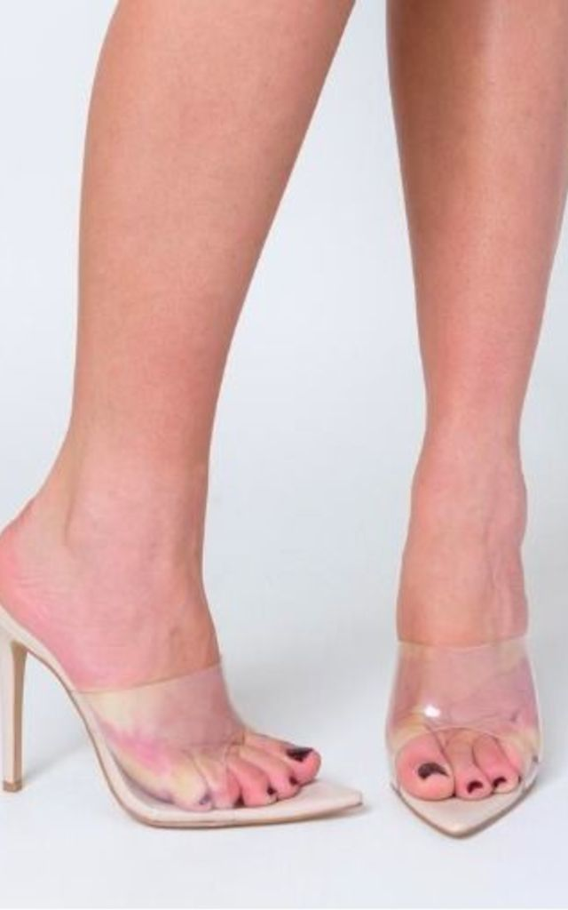 Hayden Perspex Peep Toe Mule in Nude Patent by Poised London