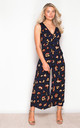 Polly Animal Print V Neck Culotte Jumpsuit Navy by Girl In Mind