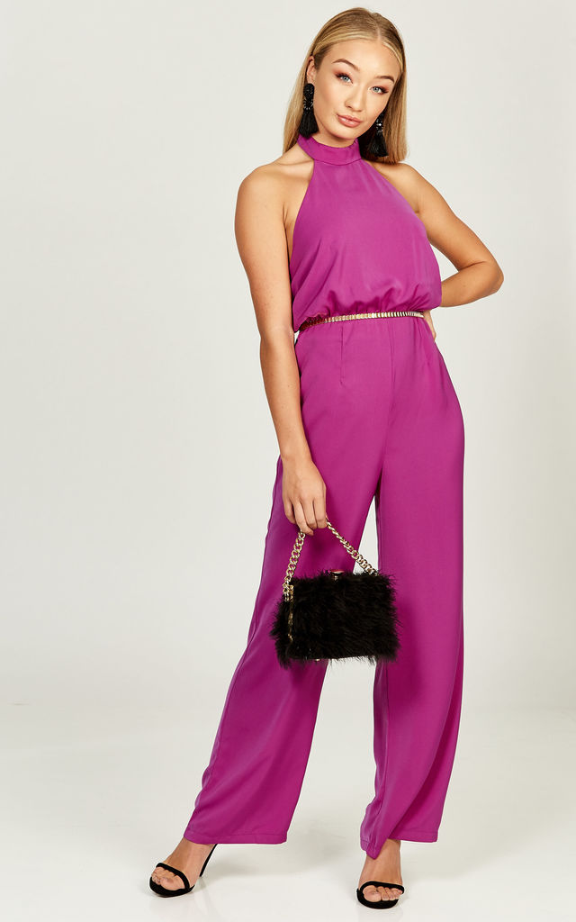 Kiki Magenta halterneck backless jumpsuit by Phoenix & Feather