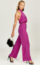 Kiki Magenta halterneck backless jumpsuit by Phoenix + Feather